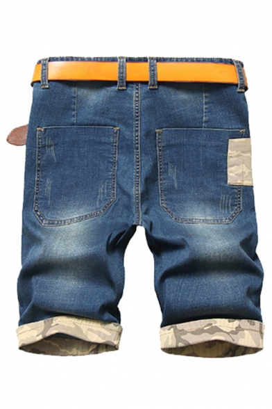 Men's Popular Fashion Camouflage Printed Rolled Cuffs Classic Washed Blue Oversized Ripped Denim Shorts