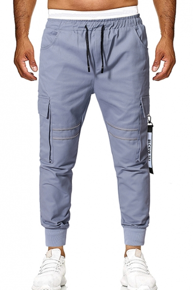 Men's Popular Fashion Letter Ribbon Embellished Flap Pocket Side Drawstring Waist Casual Cotton Cargo Pants
