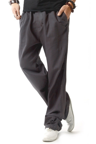 Men's Popular Fashion Simple Plain Drawstring Waist Linen Wide Leg Pants