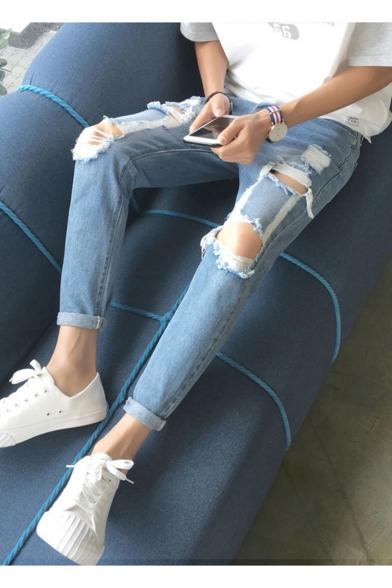 Men's Popular Fashion Simple Plain Knee Cut Rolled Cuffs Light Blue Retro Ripped Jeans
