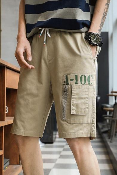 Men's Summer New Fashion Letter A-10C Printed Zipped Pocket Drawstring Waist Trendy Cargo Shorts