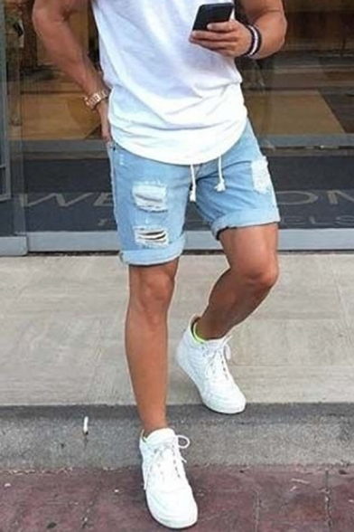Men's Summer Popular Fashion Frayed Ripped Detail Rolled Cuffs Simple Plain Light Blue Denim Shorts