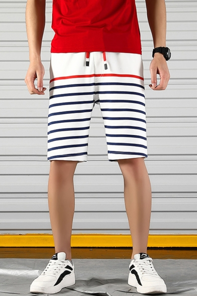 Men's Summer Stylish Colorblocked Stripes Pattern Drawstring Waist Relaxed Cotton Sweat Shorts