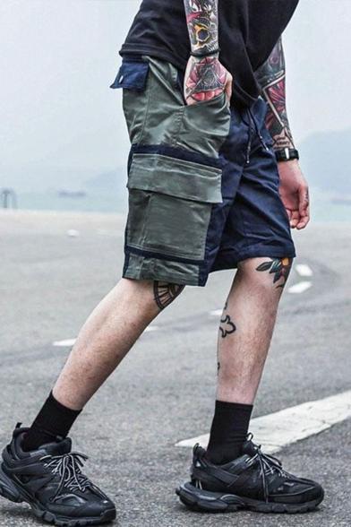 Men's Summer Trendy Colorblock Multi-pocket Design Drawstring Waist Sports Cargo Shorts