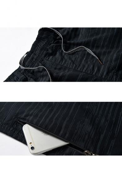Men's Summer Trendy Stripe Printed Zipped Pocket Thin Beach Shorts Casual Relaxed Shorts