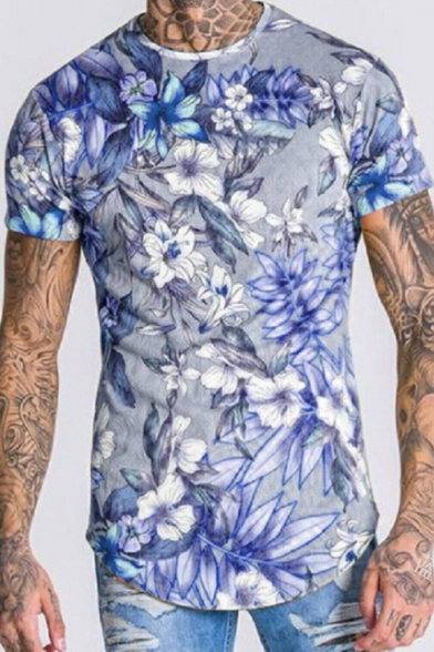 Fashion Men/'s Floral Printed T-Shirts Summer Basic Tee Pullover Slim Fit Leisure