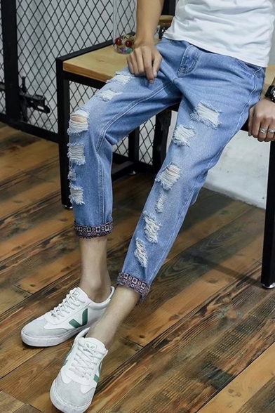 New Fashion Washed-Denim Rolled Cuffs Slim Fit Casual Ripped Jeans