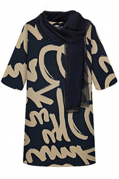 New Stylish Women Graffiti Print Half Sleeve Scoop Neck Straight Mini Dress