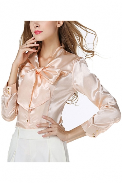 Office Lady Chic Simple Plain Bow-Tied Collar Long Sleeve Chiffon Blouse