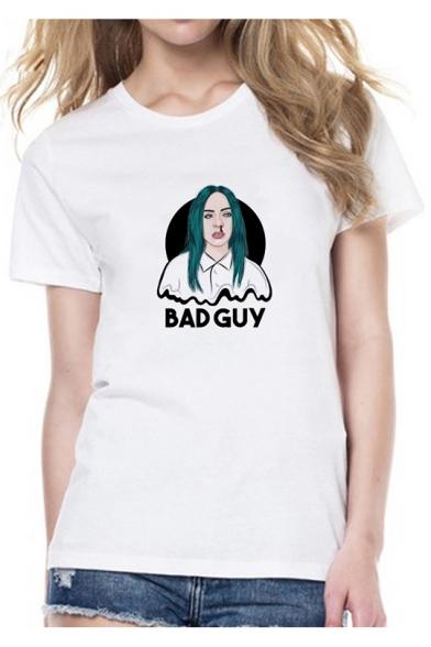Popular Bleeding Figure Letter BAD GUY Printed White Short Sleeve T-Shirt
