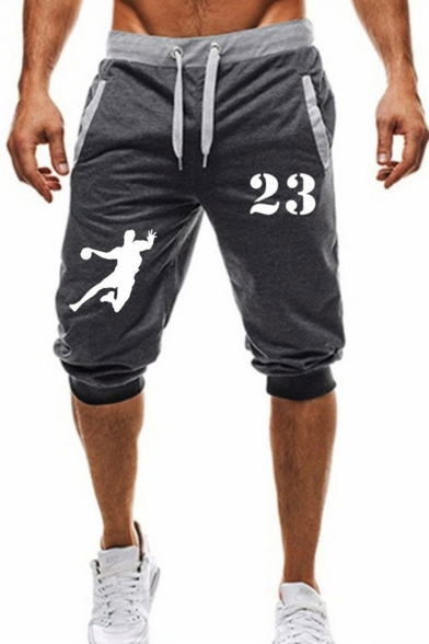 Popular Fashion Figure Letter 23 Printed Contrast Drawstring Waist Casual Sport Sweat Shorts