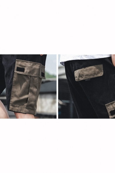 Popular Fashion Plain Contrast Flap Pocket Side Drawstring Waist Casual Cotton Cargo Shorts