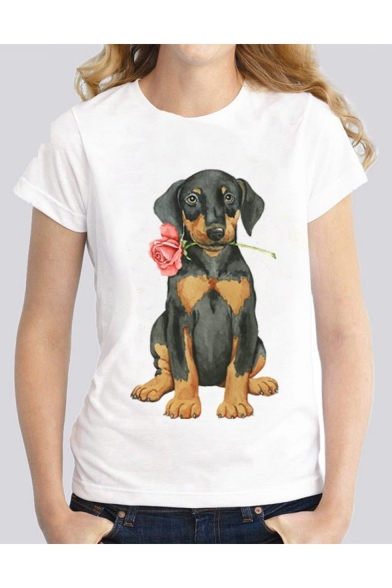 Stylish Womens White Dog Rose Printed Short Sleeve Cool Unique Straight Blouse T-Shirt
