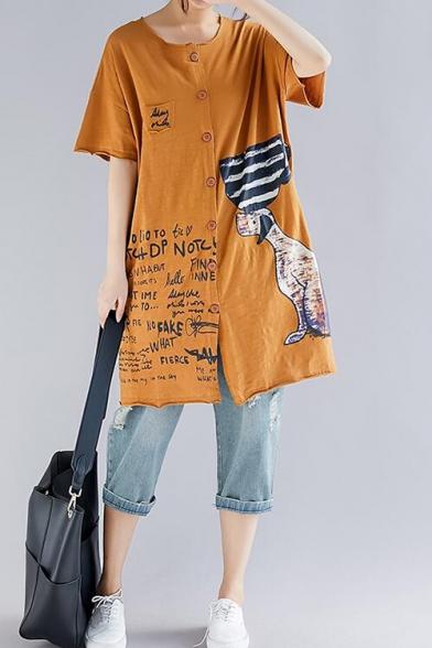 Summer Cartoon Letter Printed Round Neck Short Sleeve Button Down Cotton Longline Shirt Blouse