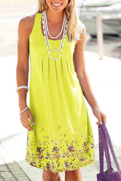 Summer Chic Floral Printed Scoop Neck Sleeveless Midi Casual Tank Dress