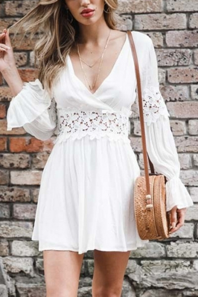 Summer Chic Hollow Out Lace-Panel Surplice V-Neck Long Sleeve White Mini A-Line Dress