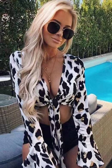 Summer Cool Trendy Leopard Printed Long Sleeve Knotted Front Sexy Crop Blouse Top