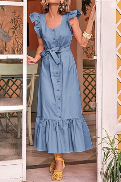 Summer Fancy Simple Plain Scoop Neck Flutter Sleeve Button Down Bow-Tied Waist Maxi Ruffled Dress