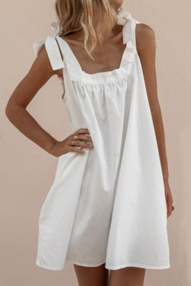 Summer Fashion Bow-Tied Strap Sleeveless Simple Plain Mini Cotton Swing Dress