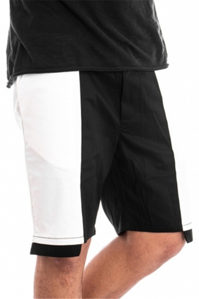 Summer Fashion Colorblock Patched Drawstring Waist Men's Casual Loose Sweat Shorts