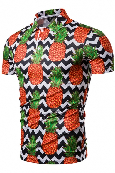 Summer Guys Fashion Pineapple 3D Printed Basic Short Sleeve Slim Fit Polo Shirt