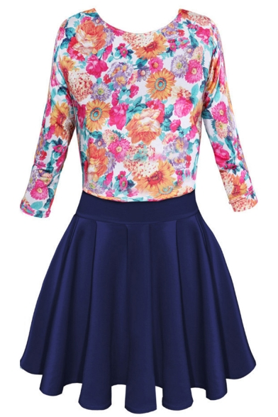 Summer Hot Fashion Floral Print Round Neck Three-Quarter Sleeves High Waist Mini Pleated Combo Dress