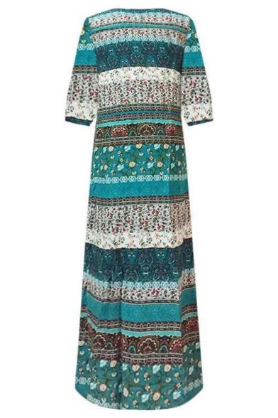 Summer Hot Popular Tribal Printed V-Neck Long Sleeve Button Down Maxi Beach Bohemian Dress