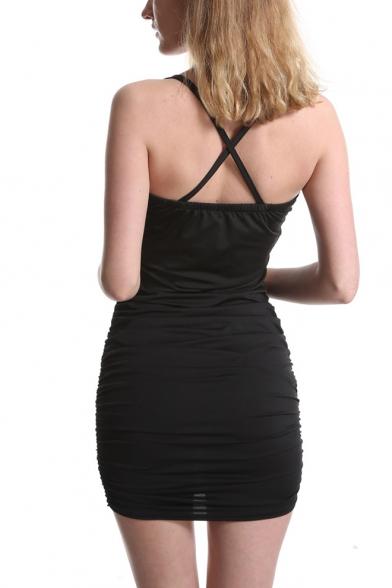 Summer Hot Stylish Black Straps Sleeveless Crisscross Back Cutout Fitted Sexy Mini Dress