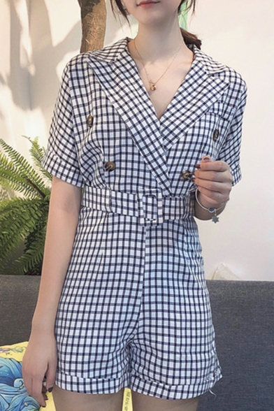 Summer New Stylish Check Printed High Waist Button Embellished Lapel Collar Rompers