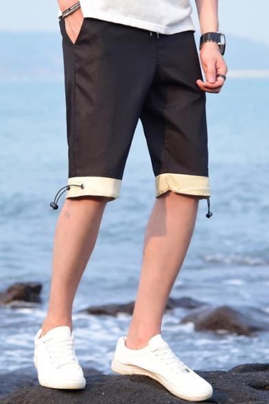 Summer Simple Fashion Color Block Drawstring Hem Men's Casual Beach Shorts