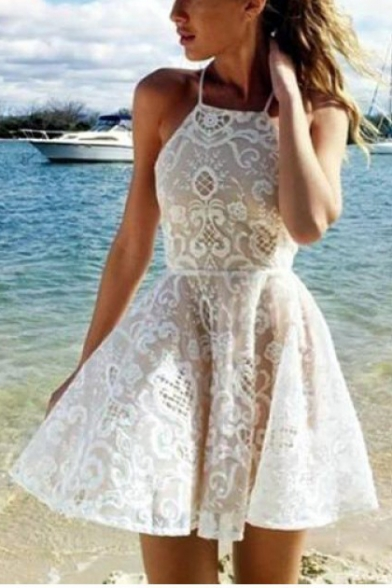 Summer Womens Halter Neck Sleeveless Mini A-Line White Lace Dress