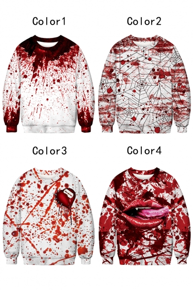 Trendy Halloween Horrible Red Blood 3D Print Round Neck Long Sleeve Sweatshirt