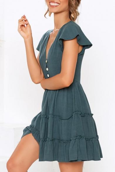 Trendy Plain Button V-Neck Flutter Sleeve Mini A-Line Layered Ruffle Dress
