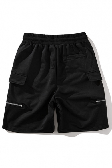 Unisex Summer New Fashion Solid Color Zipper Embellished Drawstring Waist Black Cotton Cargo Shorts Casual Sweat Shorts