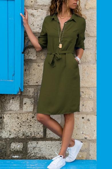 Womens Elegant Lapel Collar Button Front Tied Waist Midi Sheath Shirt Dress
