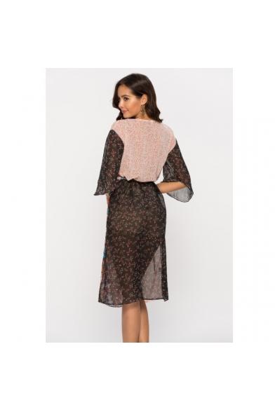 Womens Ethnic Style Floral Patchwork V-Neck Midi Chiffon Dress