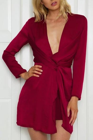Womens Hot Sexy Fashion Plain Plunge V Neck Twist Waist Long Sleeves Mini Dress
