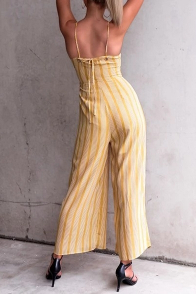 Womens New Arrival Yellow Straps V Neck Off Shoulder High Waist Striped Wide Leg Jumpsuits