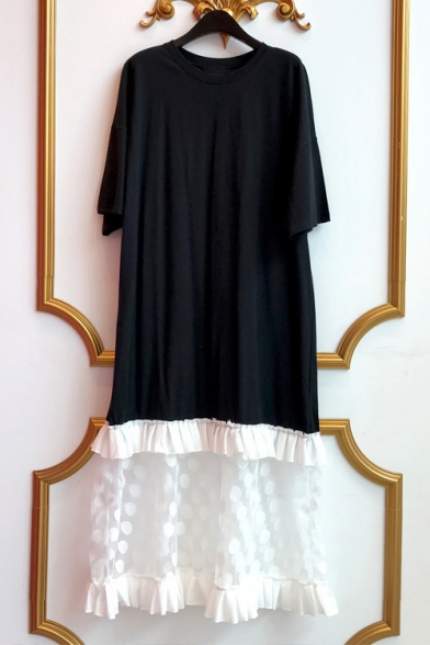 Womens New Trendy Oversize Short Sleeve Polka Dot Print Mesh Hem Patch Midi T-Shirt Dress