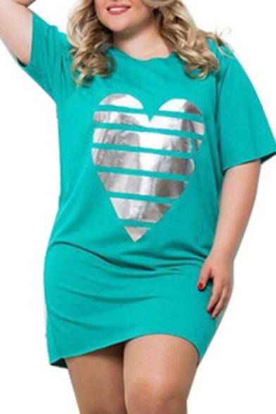 Womens Plus Size Hot Fashion Heart Print Short Sleeve Round Neck Mini T-Shirt Dress