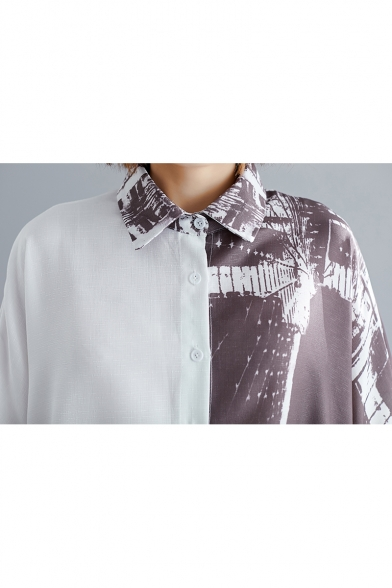 Womens Plus Size Summer Fashion Ink Painting Casual Loose Button Down Longline Shirt Blouse