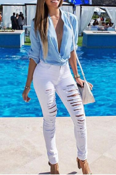 Womens Sexy Distressed Ripped Hole Stretch Fit Skinny Denim Jeans