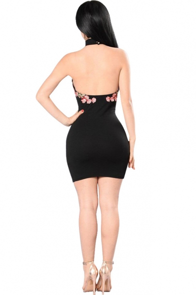 Womens Sexy Night Club Halter Plunging V-Neck Floral Applique Backless Mini Bodycon Black Dress