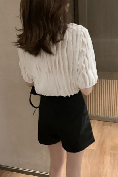 Womens Summer Fashion Designer Contrast Collar Short Sleeve Plain Pleated Blouse