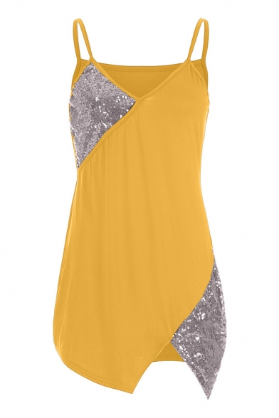 Womens Unique Sexy Sequined Patched V-Neck Sleeveless Nightclub Mini Bodycon Slip Dress