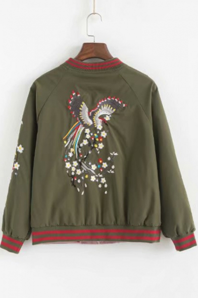 Chic Floral Crane Embroidery Rib Stand Collar Long Sleeve Zip Up Reversible Baseball Jacket