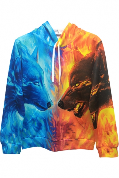 Cool 3D Ice and Fire Wolf Printed Long Sleeve Unisex Sport Hoodie