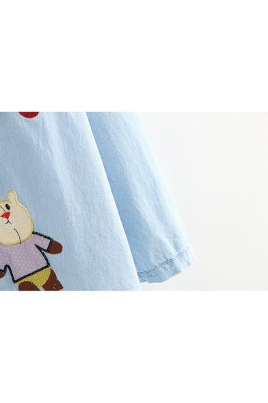 Cute Cartoon Animal Embroidery Long Sleeve Button Down Blue Chambray Shirt