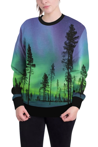 Fashion Green and Purple Galaxy Tree 3D Print Crew Neck Long Sleeve Pullover Sweatshirt