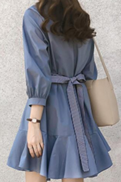 Fashion Half Sleeve Bow-Tie Plain Ruffle Hem Casual Mini A-Line Dress